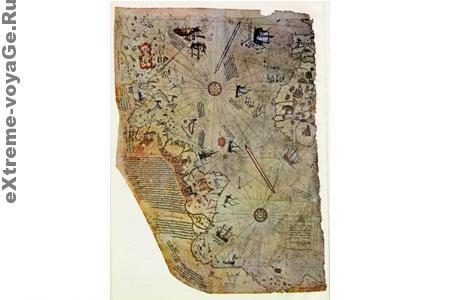 Сохранившийся обрывок карты Пири Рейса