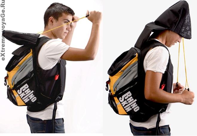Кевларовый рюкзак с колпаком в действии