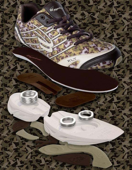 Строение камуфляжных кроссовок с пружинами Spira Duck Dynasty