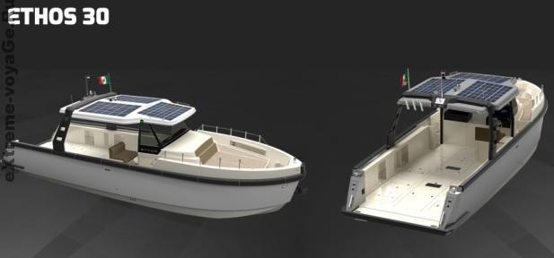 Солнечные батареи на многоцелевом катере Ethos E30