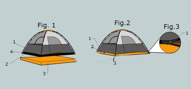 Конструкция туристической палатки с матрасом Aesent