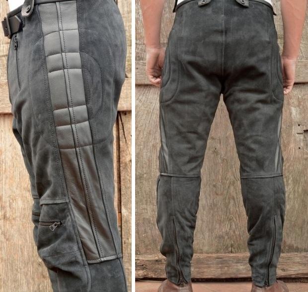 Мотобрюки Leather Motorcycle Pants: вид сзади и сбоку