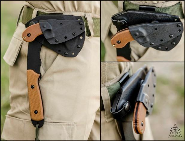 Способы ношения ножа и топора Wolf Pax 2 Combo