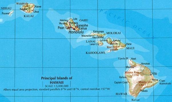 Гавайский архипелаг на карте