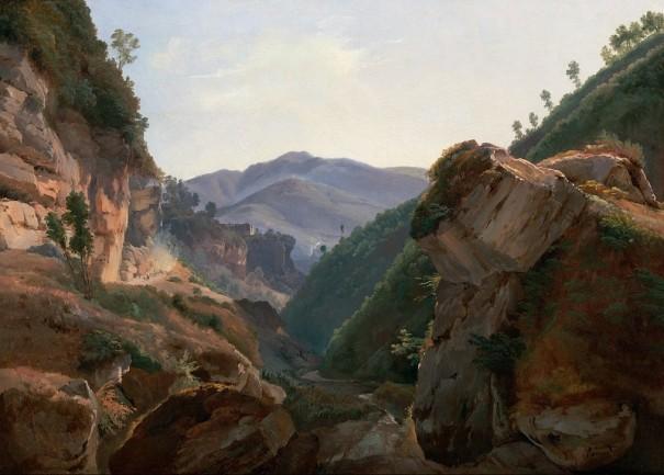 """Ремон Жан Шарль Жозеф (город Париж, 1795 - 1875). Работа """"Скалистый пейзаж с дорогой в Неаполь """""""
