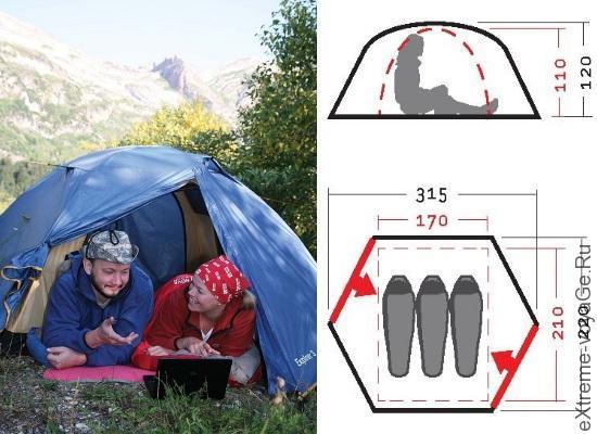 Экстремальная палатка с ветрозащитой Эксплорер 3 V2