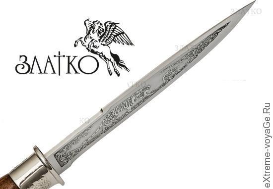 Руский нож для охоты с литьем  Златко Горностай-1