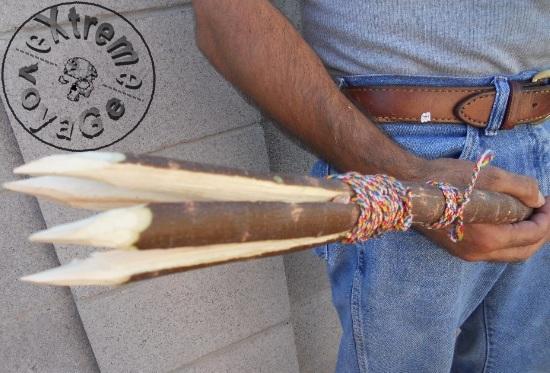 Самодельное оружие: копье-гарпун с 4 наконечниками