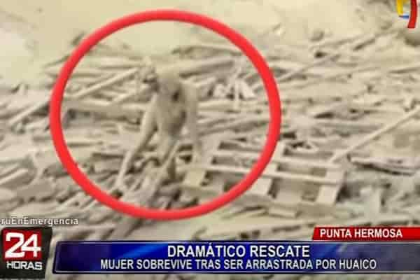 Смертельные сели в Перу: видео само-спасения женщины