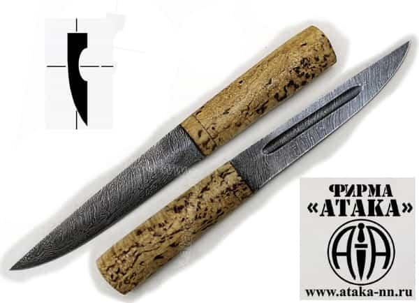 Якутский нож компании Атака из дамасской стали