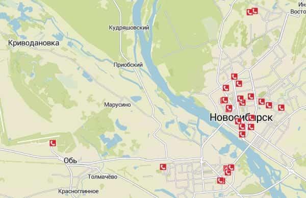 Карта звонков на 12:00 по МСК